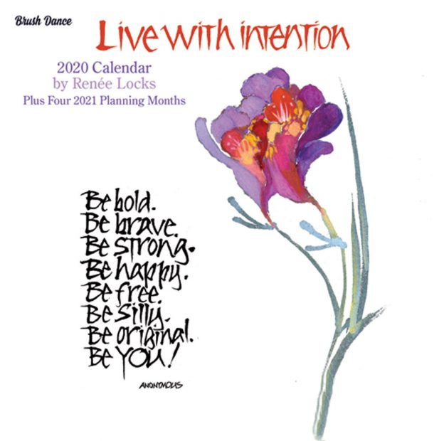 Live with Intention 2020 7 x 7 Inch Monthly Mini Wall Calendar by Brush Dance, Art Paintings Inspiration Motivation