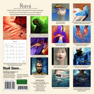 Poetry of Rumi 2020 7 x 7 Inch Monthly Mini Wall Calendar by Brush Dance, Art Poems Poet