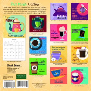 But First Coffee 2020 12 x 12 Inch Monthly Square Wall Calendar by Brush Dance, Drink Beverage Shop Café Beans