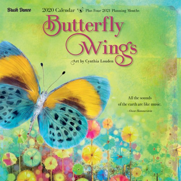 Butterfly Wings 2020 12 x 12 Inch Monthly Square Wall Calendar by Brush Dance, Drawings Artwork Animals Wildlife