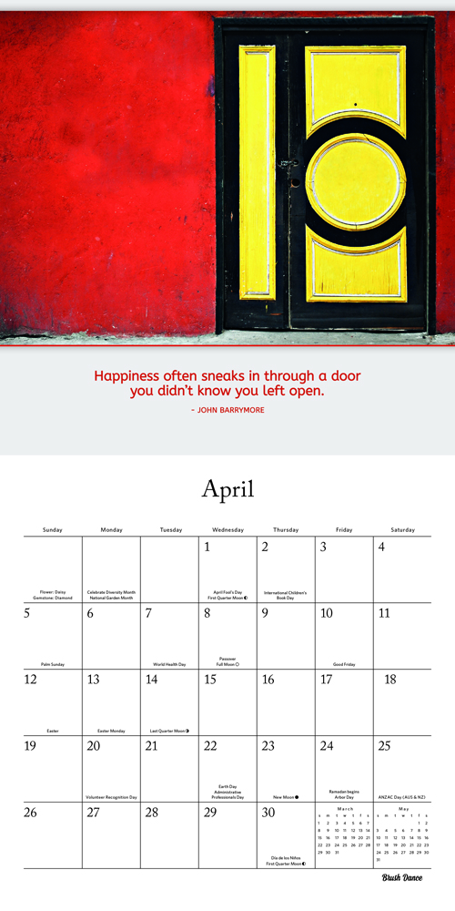 Doors & Windows 2020 12 x 12 Inch Monthly Square Wall Calendar by Brush Dance, Photography Homes Building