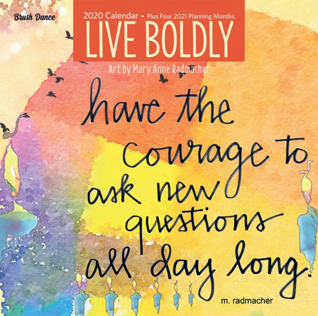 Live Boldly 2020 12 x 12 Inch Monthly Square Wall Calendar by Brush Dance, Artwork Art Calligraphy