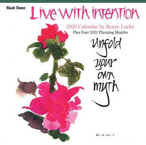 Live with Intention 2020 12 x 12 Inch Monthly Square Wall Calendar by Brush Dance, Art Paintings Inspiration Motivation