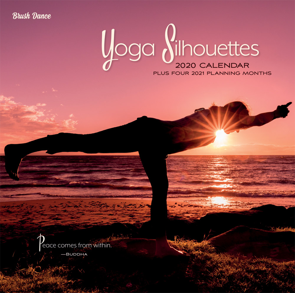 Yoga Silhouettes 2020 12 x 12 Inch Monthly Square Wall Calendar by Brush Dance, Inspiration Meditation Namaste