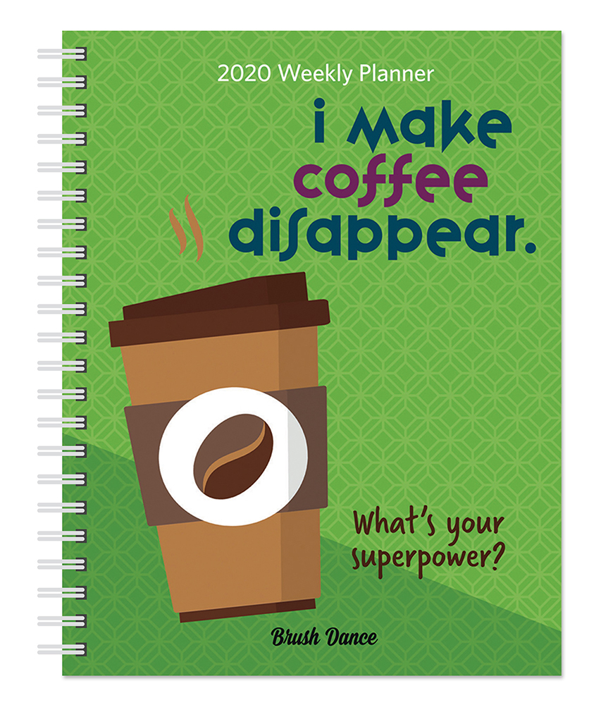 But First Coffee 2020 6 x 7.75 Inch Weekly Desk Planner by Brush Dance, Drink Beverage Shop Café Beans