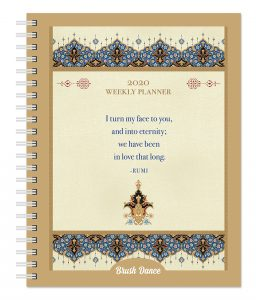 Enlightened Rumi 2020 6 x 7.75 Inch Weekly Desk Planner by Brush Dance, Traditional Art Poetry