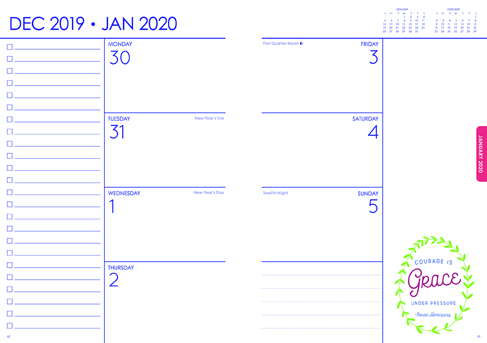 Big Ambitions Marble 2020 6 x 7.75 Inch Weekly Karma Planner by Brush Dance, Art Artwork Motivation Inspiration