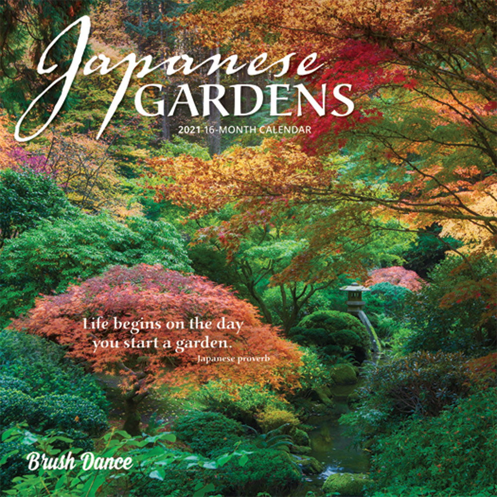 Japanese Gardens 2021 7 x 7 Inch Monthly Mini Wall Calendar by Brush Dance, Gardening Outdoor Home Country Nature