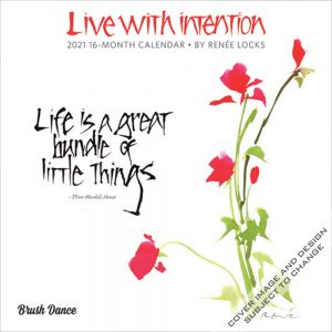 Live with Intention 2021 7 x 7 Inch Monthly Mini Wall Calendar by Brush Dance, Art Paintings Inspiration Motivation