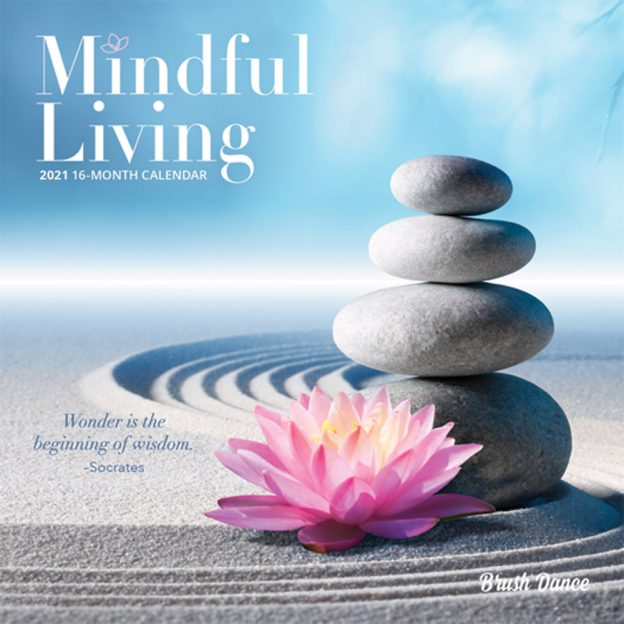 Mindful Living 2021 7 x 7 Inch Monthly Mini Wall Calendar by Brush Dance, Art Quotes Photography Inspiration