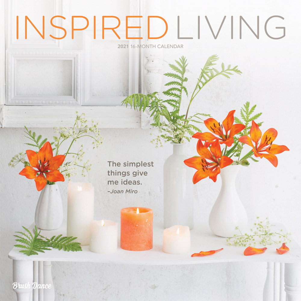 Inspired Living 2021 12 x 12 Inch Monthly Square Wall Calendar by Brush Dance, Photography Quotes Inspiration