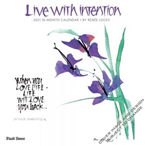 Live with Intention 2021 12 x 12 Inch Monthly Square Wall Calendar by Brush Dance, Art Paintings Inspiration Motivation