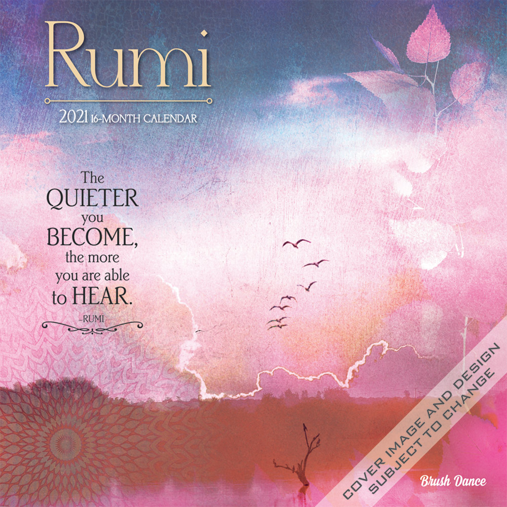 Poetry of Rumi 2021 12 x 12 Inch Monthly Square Wall Calendar by Brush Dance, Art Poems Poet