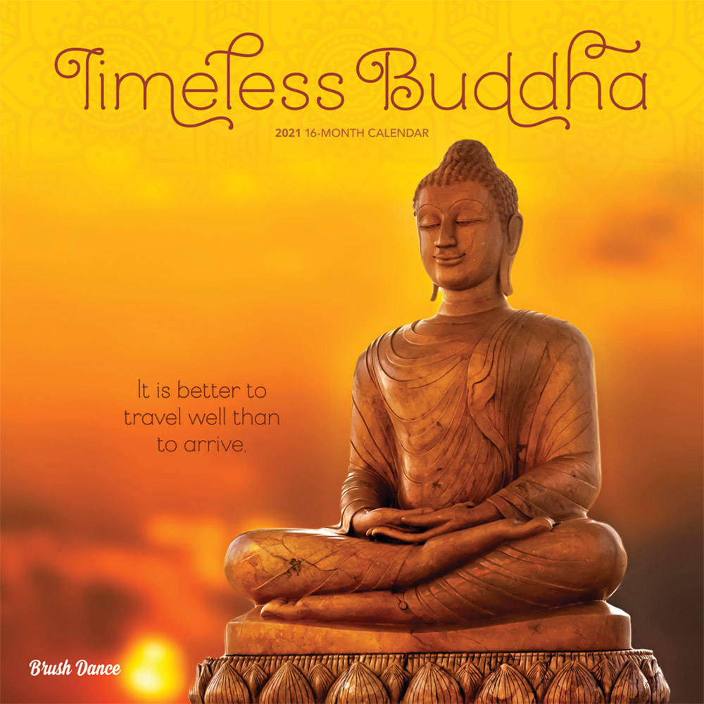 Timeless Buddha 2021 12 x 12 Inch Monthly Square Wall Calendar by Brush Dance, Inspiration Thailand Peace