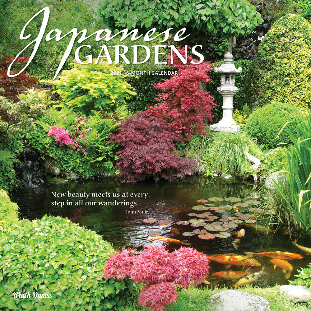 Japanese Gardens 2021 12 x 12 Inch Monthly Square Wall Calendar by Brush Dance, Gardening Outdoor Home Country Nature