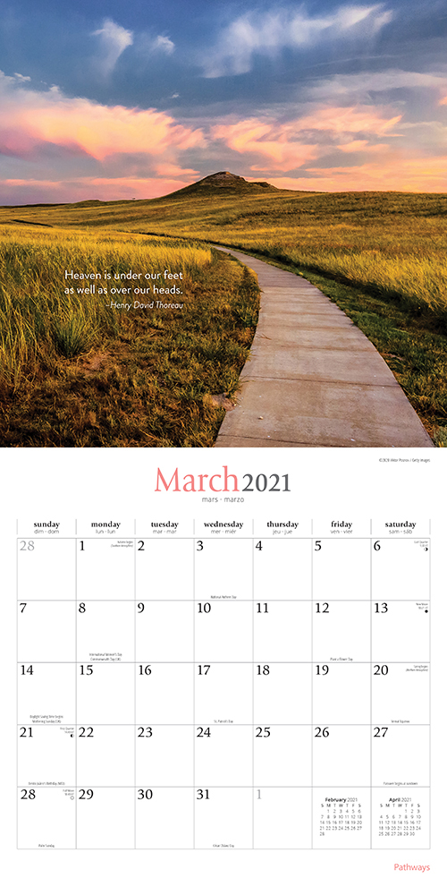 Pathways 2021 12 x 12 Inch Monthly Square Wall Calendar by Brush Dance, Photography Journey Scenic Nature