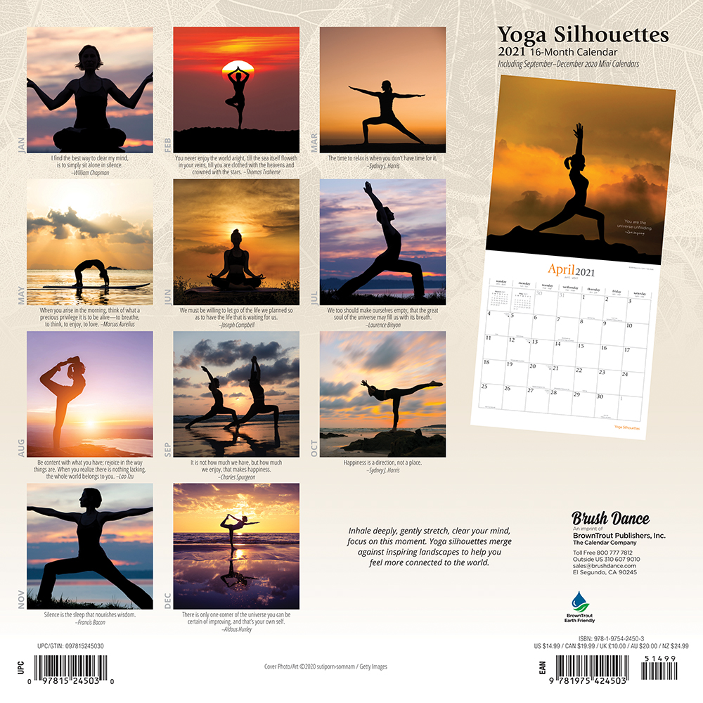 Yoga Silhouettes 2021 12 x 12 Inch Monthly Square Wall Calendar by Brush Dance, Inspiration Meditation Namaste