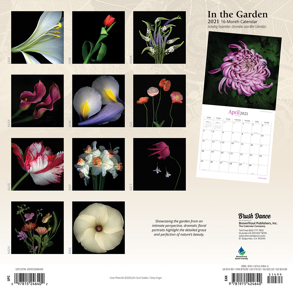 In the Garden 2021 12 x 12 Inch Monthly Square Wall Calendar by Brush Dance, Flowers Plants Floral Photography