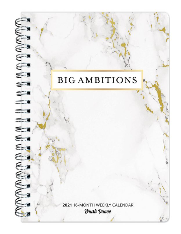 Big Ambitions Marble 2021 6.9 x 9.8 Inch Weekly Karma Planner by Brush Dance, Art Artwork Motivation Inspiration