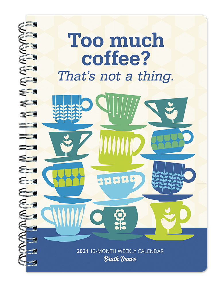 But First Coffee 2021 6.9 x 9.8 Inch Weekly Karma Planner by Brush Dance, Drink Beverage Shop Café Beans