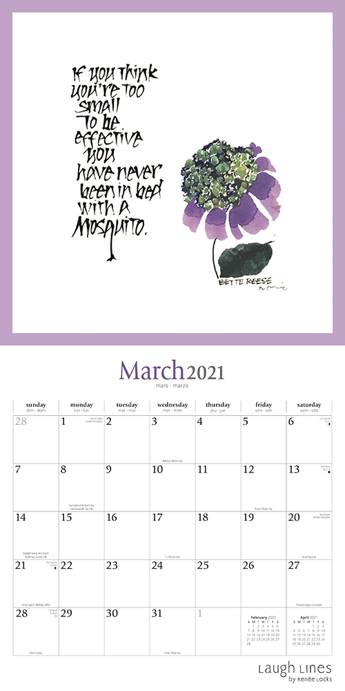 Laugh Lines 2021 12 x 12 Inch Monthly Square Wall Calendar by Brush Dance, Artwork Art Humor Drawing