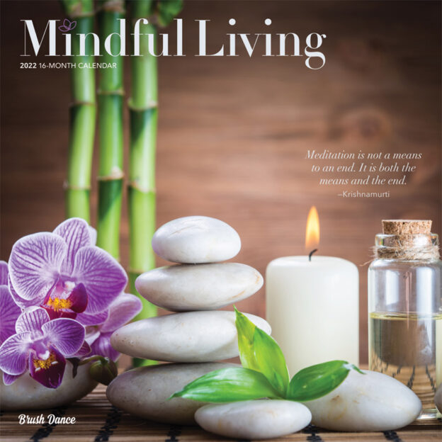 Mindful Living 2022 12 x 12 Inch Monthly Square Wall Calendar by Brush Dance, Art Quotes Photography Inspiration