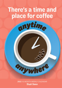 But First Coffee 2022 6.9 x 9.8 Inch Weekly Karma Planner by Brush Dance, Drink Beverage Shop Café Beans