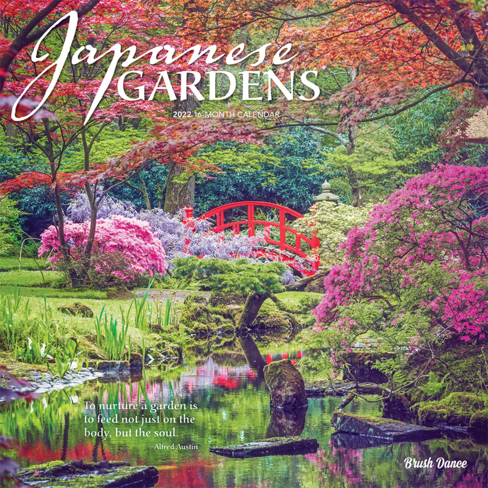 Japanese Gardens 2022 12 x 12 Inch Monthly Square Wall Calendar by Brush Dance, Gardening Outdoor Home Country Nature