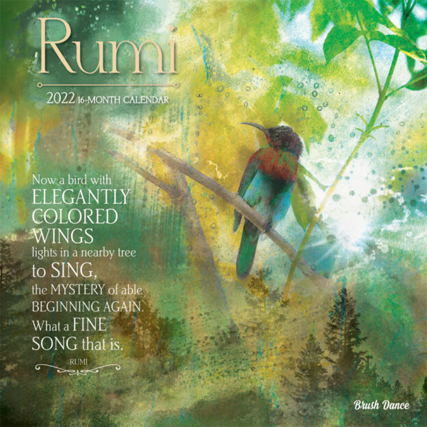 Poetry of Rumi 2022 12 x 12 Inch Monthly Square Wall Calendar by Brush Dance, Art Poems Poet