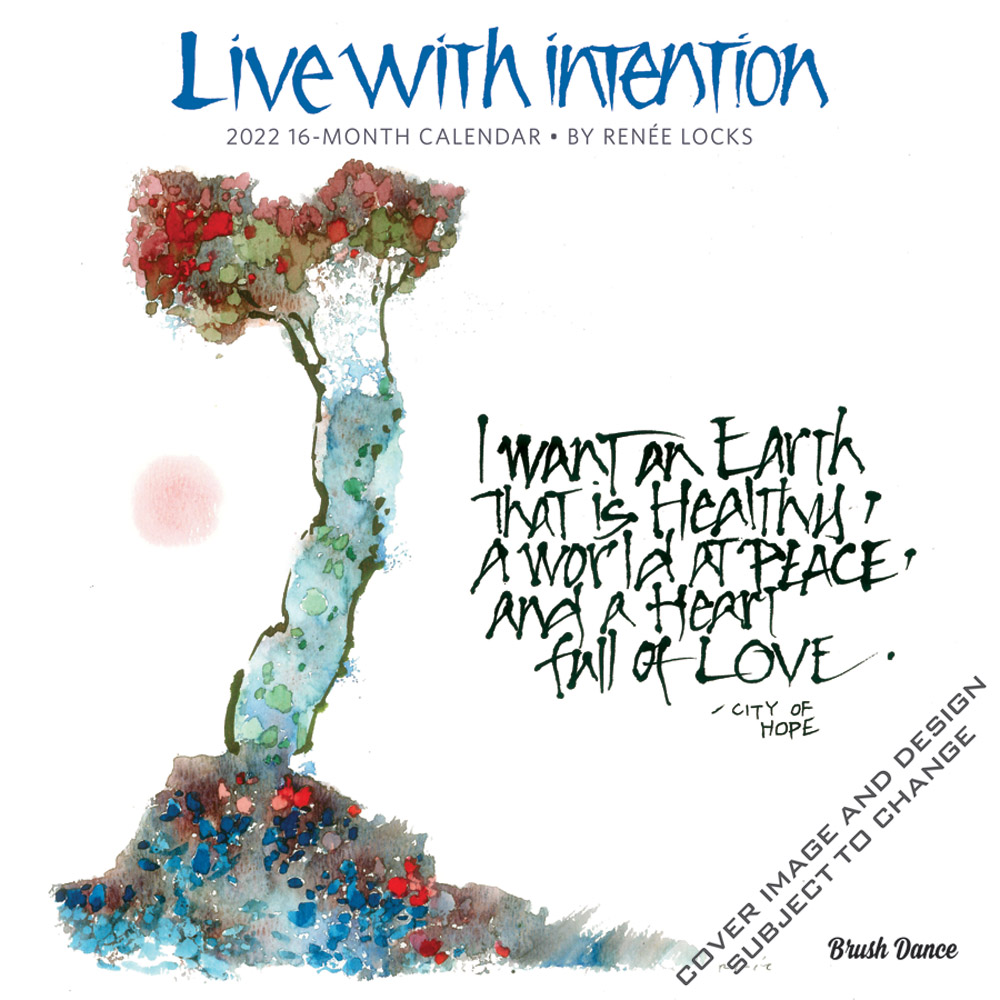 Live with Intention 2022 12 x 12 Inch Monthly Square Wall Calendar by Brush Dance, Art Paintings Inspiration Motivation
