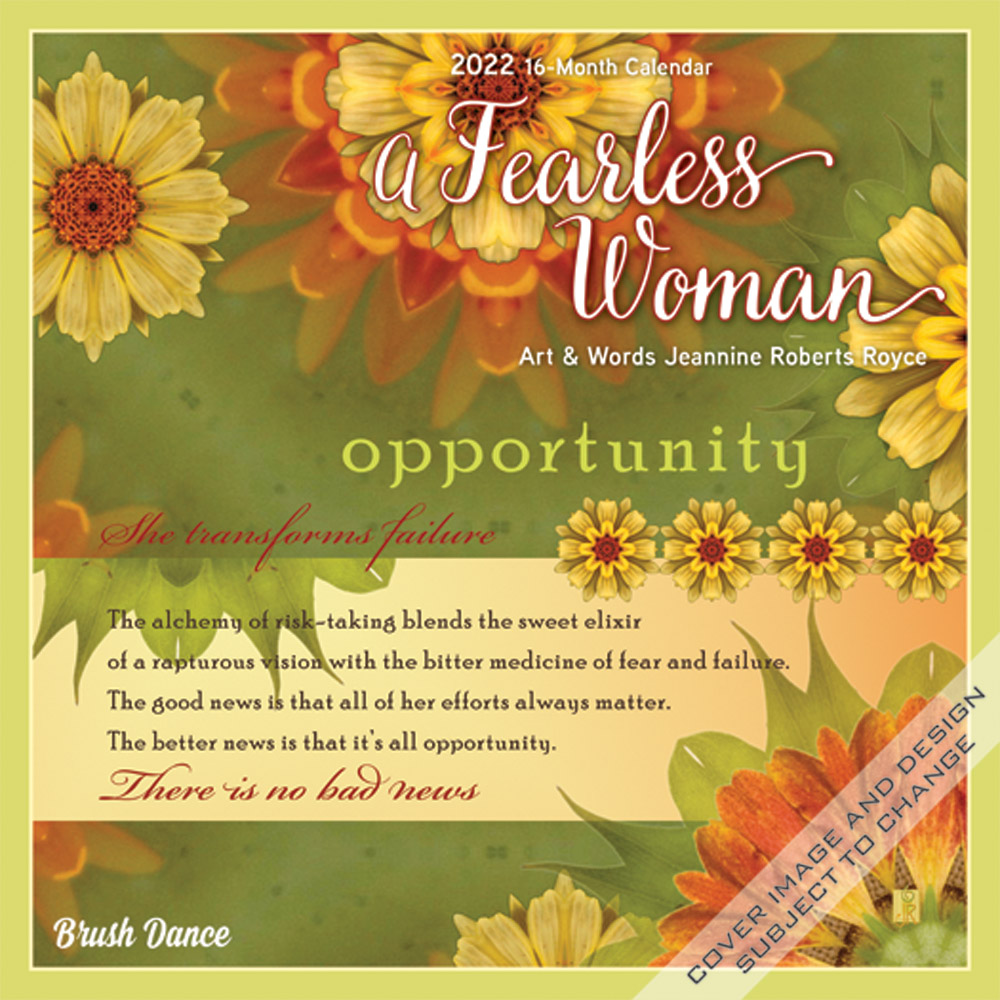 A Fearless Woman 2022 7 x 7 Inch Monthly Mini Wall Calendar by Brush Dance, Floral Artwork Flowers