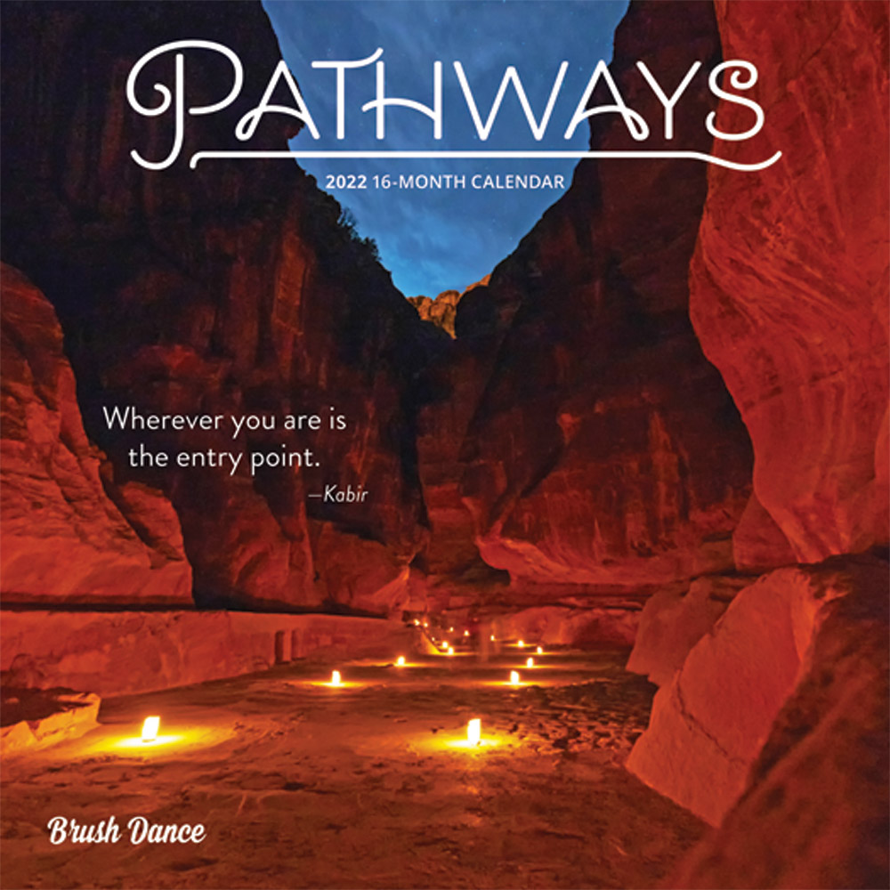 Pathways 2022 7 x 7 Inch Monthly Mini Wall Calendar by Brush Dance, Photography Journey Scenic Nature