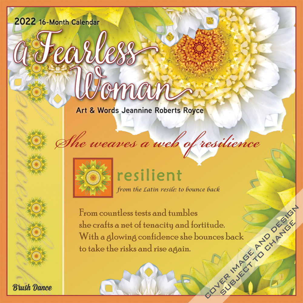 A Fearless Woman 2022 12 x 12 Inch Monthly Square Wall Calendar by Brush Dance, Floral Artwork Flowers