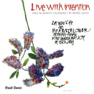 Live with Intention 2022 7 x 7 Inch Monthly Mini Wall Calendar by Brush Dance, Art Paintings Inspiration Motivation