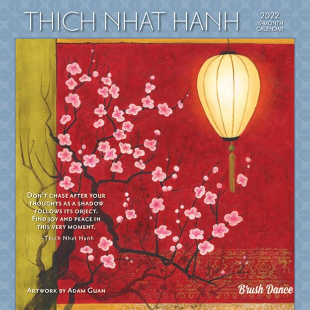 Thich Nhat Hanh 2022 7 x 7 Inch Monthly Mini Wall Calendar by Brush Dance, Zen Peace Spiritual Leader